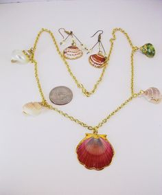 Conch Sea Shell Drops  Scallop Sea Shell by BEADEDNECKLACESHOPPE, $40.00