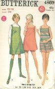 An original ca. 1970's Butterick Pattern 4860.  Young Junior / Teen Dress or Jumper and Shorts - A line dress or jumper in mini or street length has shoulder straps with button closing, square armholes. view C matching shorts have elasticized waistline. Purchased sweater.