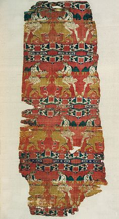 """Silk with """"Samson"""" and the Lion  Date: late 6th–early 7th century Geography: Made in, Eastern Mediterranean Medium: Weft-faced compound twill (samit) in polychrome silk Dimensions: 37 1/16 x 15 1/8 in. (94.2 x 38.4 cm)"""