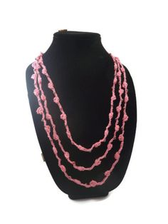 Crochet Necklace Three Strands  Bobble Stitch Pink Iridiscent Cooper Beads  Fiber Necklace. $20.00, via Etsy.