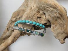 bracelet double tours cuir et perles tissées : Bracelet par junchiddu