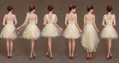 6 Custom Short Champagne Chiffon Dresses Bridesmaid Dresses