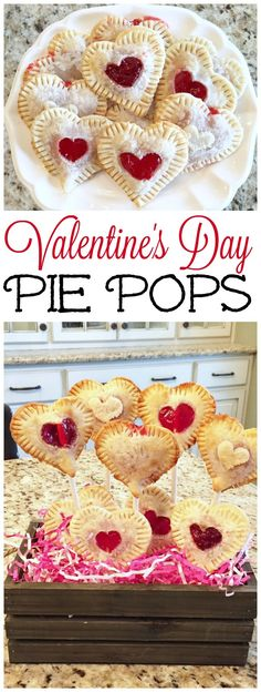 Cute Valentine's Day pie pops - easy to make with only three ingredients needed!