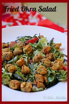 Fried okra is a classic dish from southern American cuisine. While they are delicious, they are high in calories due to the deep fried batter that surrounds the okra. Add some balance to fried okra but combining it with a fresh salad. Okra Recipes, Tomato Salad Recipes, Cajun Recipes, Vegetable Recipes, Vegetarian Recipes, Healthy Recipes, Vegetarian Salad, Southern Okra Recipe, Southern Recipes