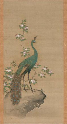 Peacock and Peach Blossoms. Japanese. Edo period, latter half of the 17th century. Attributed to Kiyohara Yukinobu (Japanese, 1643–1682)