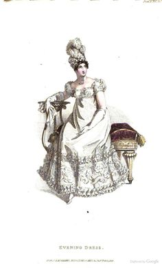 Evening Dress from Ackermann's Repository of the Arts February 1819