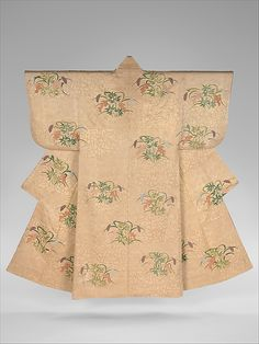 Noh Costume (Nuihaku) with Design of Millet and Nandina Berries on a Background of Pine Branches and Zither Bridges. Period: Edo period (1615–1868). Date: second half of the 18th–19th century. Culture: Japan. Medium: Silk embroidery and gold leaf on silk twill. Dimensions: Overall: 66 1/2 x 52 3/4 in. (168.9 x 134 cm).