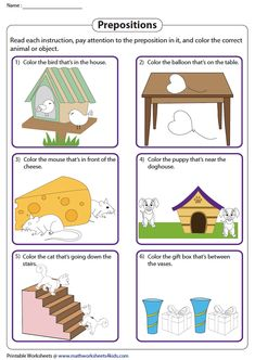 Reading Instructions and Coloring Pictures English Grammar, Prepositions Worksheets, Language Arts, Whats New, Coloring, Kids, Math, Reading, Pictures