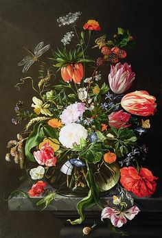 Still Life of Flowers Fine Art Print - Jan Davidsz de Heem