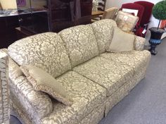 Upholstered Sofa - Very well made and extremely clean.  3 seat fabric sofa. We have the matching chair.  Price. $475.00   - http://takeitorleaveit.co/2013/10/27/upholstered-sofa/