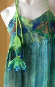 Nuno felted blouse  OOAK wool and silk felted Art to by BeatasSoul