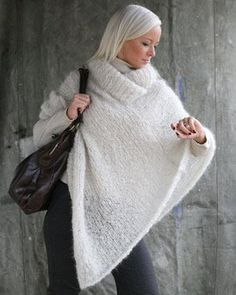 Stor poncho i mohair