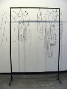 Sculpture / Installation Sculptor's Wardrobe – Suzanne Bonanno: Work Instalation Art, Inspiration Artistique, Wire Drawing, 3d Pen, Art Et Illustration, Sculpture Art, Wire Sculptures, Sculpture Ideas, Abstract Sculpture