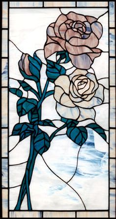 2 roses stained glass window custom glass design