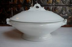 WHITE IRONSTONE TUREEN Wedgewood Antique by ironstonevintage, $65.00