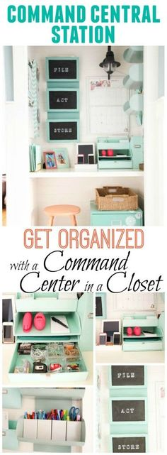 Get organized with a Command Center in your home - We turned out underused coat closet into a Command Central Station to help tame the paperwork chaos of daily life - at The Happy Housie