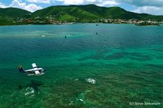 Seaborne Airlines seaplane on approach to Christiansted ST Croix, US Virgin Islands (formerly Denmark) Barbados, Jamaica, Bequia, Bora Bora, Beautiful Islands, Beautiful Beaches, Dream Vacations, Vacation Spots, Vacation Ideas
