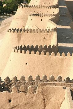 The old walled city of Khiva, in western Uzbekistan, was once the capital of the kingdom of Khorezm, near the Aral Sea. It grew rich on the Silk Road trade carried across Central Asia's deserts.