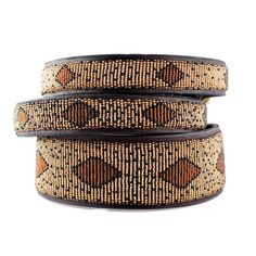 dog leashes and collars | Handmade African Beaded Leather Dog Collar - Cheetah