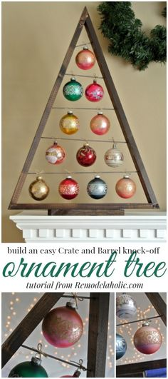 Build an easy ornament display tree @Remodelaholic #christmas #holidaydecor