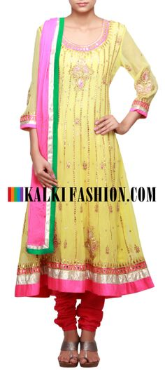 Buy Online from the link below. We ship worldwide (Free Shipping over US$100)  http://www.kalkifashion.com/lime-green-anarkali-suit-embellished-in-gotta-patti-cut-work-only-on-kaki.html