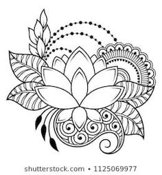 Art & Inspiration & Tattoos ♡ Embroidery Flower Patterns Mehndi flower pattern for Henna drawing and tattoo. Decoration in ethnic oriental, Indian style. Henna Designs Easy, Henna Tattoo Designs, Mehndi Designs, Henna Drawings, Zentangle Drawings, Mehndi Drawing, Mandala Art Lesson, Mandala Drawing, Embroidery Flowers Pattern