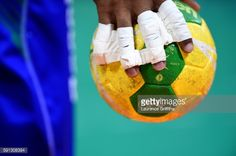 A detailed view of a ball is displayed during the Men's Quarterfinal... News Photo | Getty Images