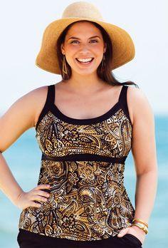 Beach Belle Gilded Plus Size Empire Tankini Top