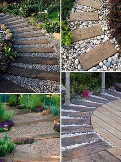 Pave a river rocks or gravel garden path and top it with log sleepers that can be used for paving or as lawn or patio edging. Pave a river rocks or gravel garden path and top it with log sleepers that can be used for paving or as lawn or patio edging. Landscaping With Rocks, Front Yard Landscaping, Landscaping Ideas, Landscaping Edging, Railroad Ties Landscaping, River Rock Landscaping, River Rock Patio, Nautical Landscaping, Landscaping Plants