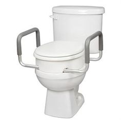 Carex Elongated Raised Toilet Seat with Handles - helps ensure compliance with hip precautions posterior approach.