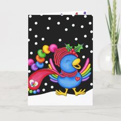 Birthday Card - Holly Jolly Birthday Wild Animals Pictures, December Birthday, Custom Greeting Cards, Birthday Cards, Birthday Ideas, Halloween Diy, Blue Bird, Thoughtful Gifts, Your Cards