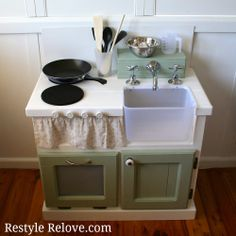DIY Kids Wooden Kitchen.  I am definitely going to make my husband build this for Amelia