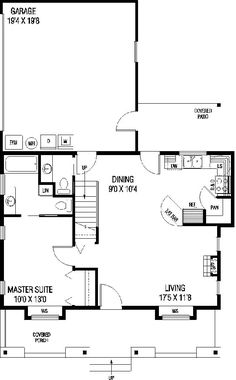 First Floor Plan of Farmhouse  Ranch   House Plan 98763