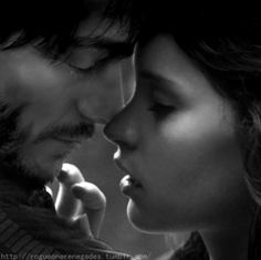 "Jyn + Cassian, RebelCaptain, Rogue One, Star Wars - ""Somehow she found herself closer to Cassian than before. Her breathing matched his, or his matched hers, deep and steady."""
