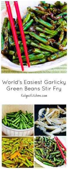 Using purchased Oyster Sauce makes this recipe for World's Easiest Garlicky Green Beans Stir Fry quick to make and delicious! [from KalynsKitchen.com] #LowCarb #GreenBeans
