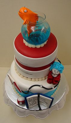 #Cat and The Hat Birthday Cake  Like,Repin,Share, Thanks!