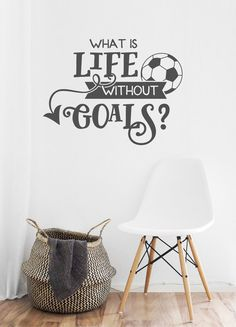 What is Life Without Goals? This soccer wall decal is both motivational and fun artwork for any soccer player, young or old! Great birthday gift for that teenage soccer player. Both girl soccer players and boy soccer players would love this on their bedroom wall. Alternatively, order in the small 3.75 size and apply it to a beverage cup - stainless steel mug (examples in photo) or a water tumbler! Free Applicator Tool and test graphic will be included to make application simple and easy…