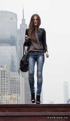 Distressed denim, leather jacket, soft tee. = City Style