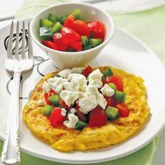 Ομελέτα χωριάτικη Greek Recipes, Egg Recipes, Cooking Recipes, Healthy Recipes, Low Fat Low Carb, Good Food, Yummy Food, Tapas, Brunch
