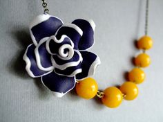 Nautical Necklace Flower Jewelry by RachelleD on Etsy