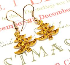 Gold Rhinestone Studded Christmas Tree Earrings by GirlieGals, $9.00