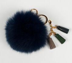 Items similar to Fur pom pom Keychain fur ball bag charms with Leather  tassels ec7288f9f05e5
