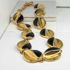 Goldtone necklace big leaf links half black enamel 18 to 21 inch large leaves #unbranded #link