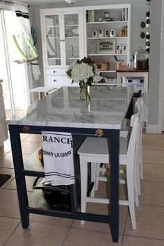 Southern Colonial - Ikea Stenstorp makeover with marble top and Valspar Volcanic Ash paint