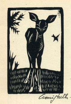 "Venadito from the portfolio ""Grabados en Madera""   1934,  woodcut.  Francisco Amighetti  (1907 - 1998)"