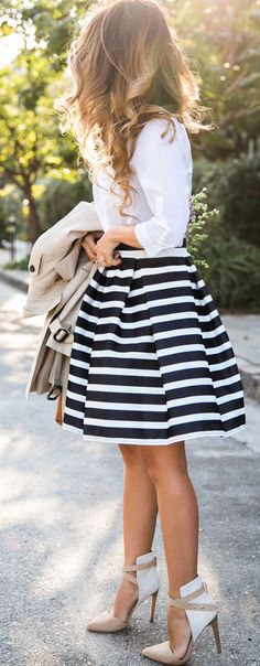 Stunning Stripped Mid Dress White Blouse and Heels Summer Look | https://www.pinterest.com/shopsatwestend/