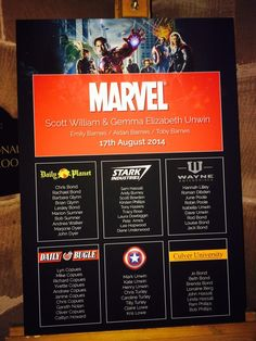 Another great superhero themed seating plan!