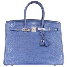 Hermes Birkin Bag 35cm Matte Bleu Brighton Porosus Crocodile Palladium  | See more vintage Top Handle Bags at https://www.1stdibs.com/fashion/handbags-purses-bags/top-handle-bags in 1stdibs