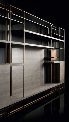 """In books I have traveled, not only to other worlds, but into my own"" - ANNA QUINDLEN - (""Cage C"" Bookcase designed by Massimo Castagna) Shelving Design, Shelving Systems, Shelf Design, Cabinet Design, Wall Design, House Design, Cabinet Shelving, Bookcase Shelves, Display Shelves"