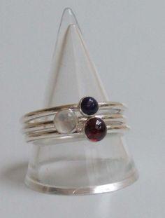 Sterling silver, Garnet,Lapis and Moonstone gemstone ringset £63.00